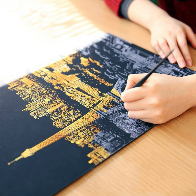 4 Pcs Children Scratch City Night View Scraping Painting A3 Size Urban Night View Scratch Pictures Paper Painting Birthday Gift