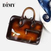 Dimy hombres bolsa de portátil maletín de cuero personalizar masculino mano pintura serpiente dragón libélula caliente precio sello regalos personalizados