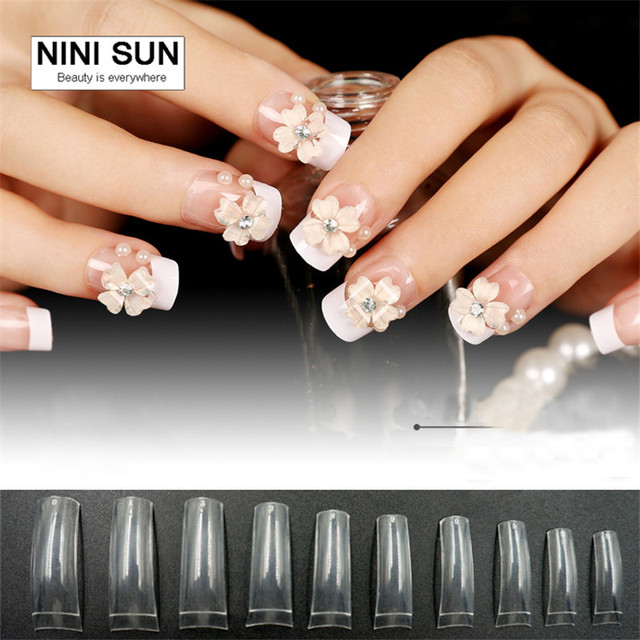Fake French Nails White Nail Tips DIY Acrylic Long False Square ...