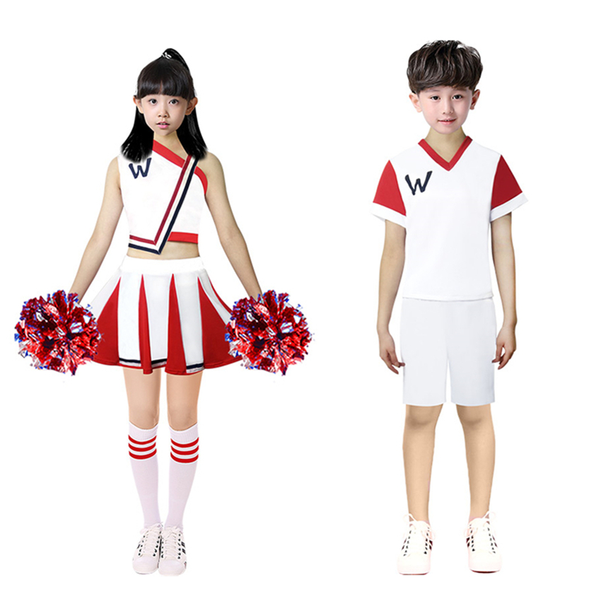 Student Cheerleading Costumes School Girls Dress Uniforms 3PCs Clothing Set Boys Tops+trousers+socks Clothing Set Dance Wear