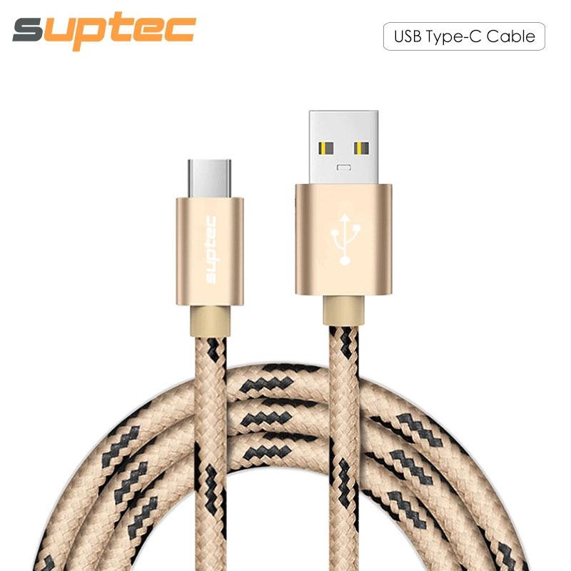 SUPTEC USB-typ C-kabel USB Type-C snabbladdningskabel för Samsung S8 Huawei P10 P9 Xiaomi Mi5 Mi6 Mi4C MIX LG laddningssladd