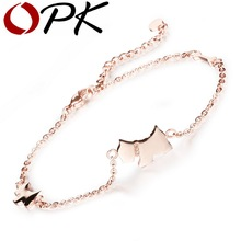 OPK Cute Dog Design Woman Anklets Fashion Trendy Rose Gold Color Stainless Steel Delicate Women Ankle Bracelet Jewelry GZ011