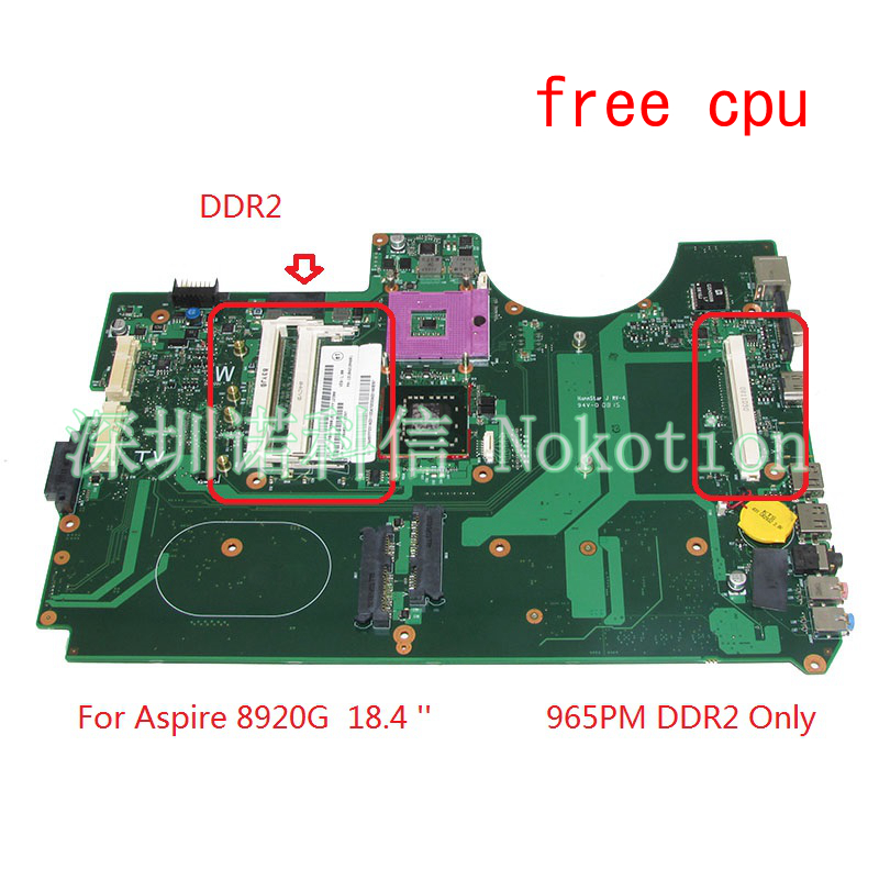 NOKOTION 6050A2184601-MB-A02 MBAP50B001 MB.AP50B.001 For acer aspire 8920 Laptop motherboard 965PM DDR2 with graphics slot valve radiator linkage controller weekly programmable room thermostat wifi app for gas boiler underfloor heating