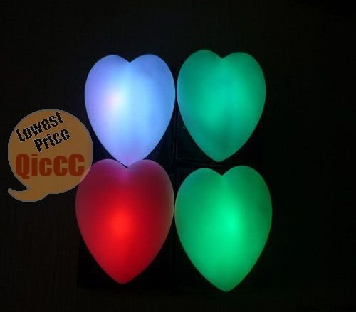 Wholesale 48pcs/lot Heart Shape LED Color Changing Night Light,led mini night light