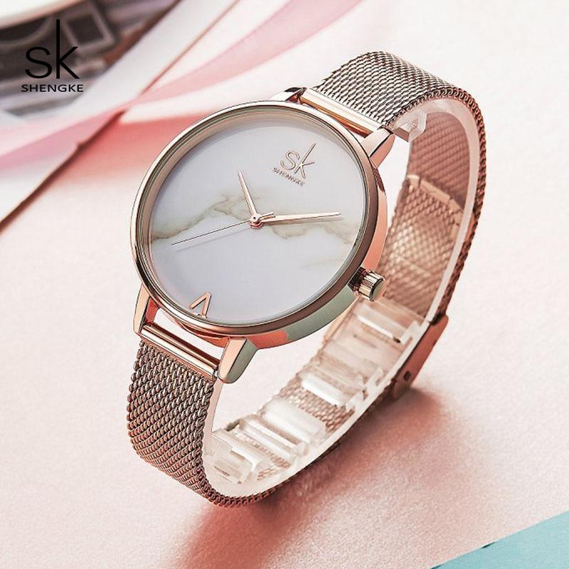 Shengke Creative Marble Dial Watches Women Luxury Stainless Steel - Dameshorloges - Foto 3