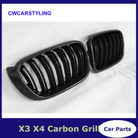 Carbon fiber material front kidney grill grille for BMW X3 X4 series F25 F26 2015+ SUV vehicles