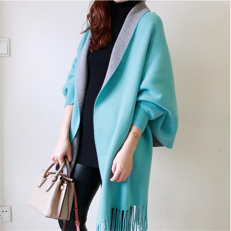 Autumn New Women's Elegant Socialite Cashmere Tassel Cardigan Sweaters Batwing Sleeves   Scarf   Pashmina   Scarf     Wraps