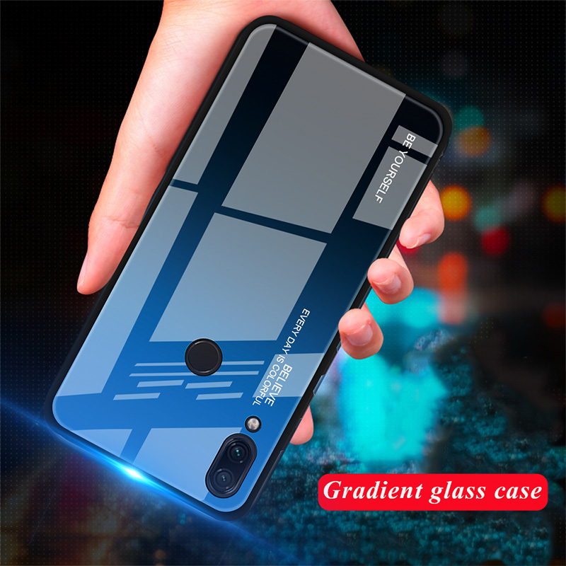 HTB1wutFXkH0gK0jSZPiq6yvapXaf - Tempered Glass Case for Xiaomi Redmi Note 7 6 K20 Pro Glossy Stained Gradient Colorful Case for Redmi 7 6A 6 Pro 5 Plus