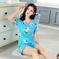 Yellow Minions Pijama Feminino For Women 2017 Summer Women Pajama Sets Girls Monkey Milk Cotton Sleepwear Sets Free Shipping