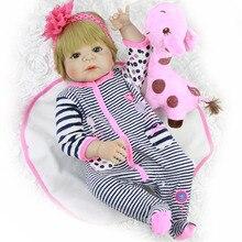 Volle Körper Silikon Vinyl bebes Reborn Puppen Realistische Lebendig 23 zoll Neue Geboren babys tragen Streifen Strampler Bonecas Rebron Geschenk