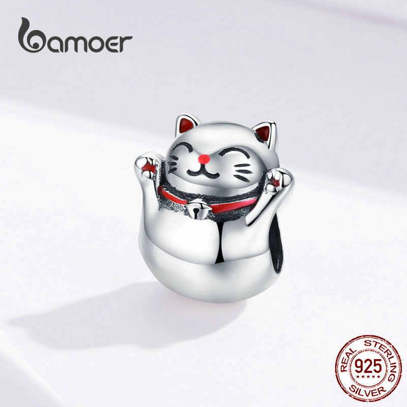 BAMOER 925 srebrny kot metalowe wiszące szczęście strażnik maneki neko metalowe koraliki dla kobiet Charm bransoletki bransoletki DIY biżuteria SCC1178