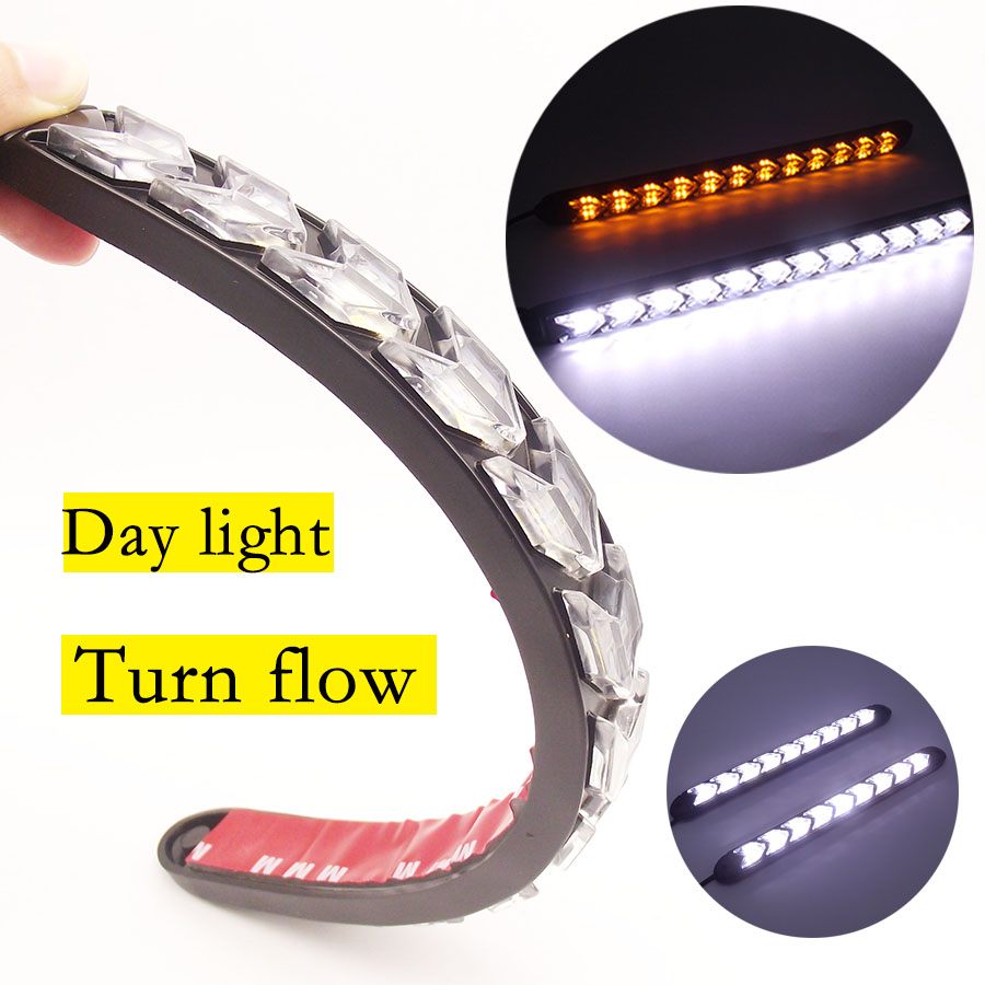 2Pcs LED DRL Daytime Running Light Car Styling Dynamic Streamer Flow Amber white yellow Turn Signal Warning Fog Day Lamp цена
