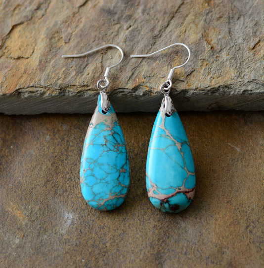 Women Luxury Earrings Natural Stones Teardrop Dangle Earrings