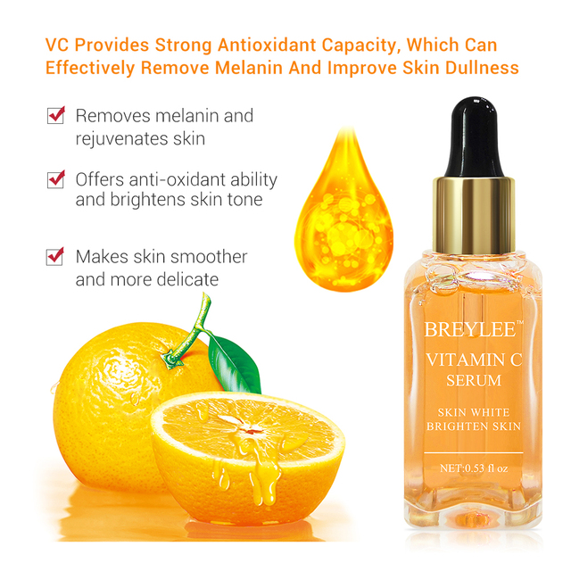BREYLEE Vitamin C Serum Face Whitening Essence Brighten Skin Facial Skin Care Fade Dark Spots Remove