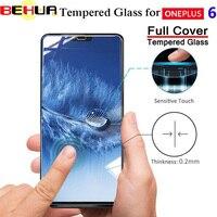 Filme De Vidro temperado para Um Mais 6 Protetor de Tela do filme de vidro para OnePlus 6 Filme Protetor de Tela Borda Curvada de Vidro Cobertura Completa