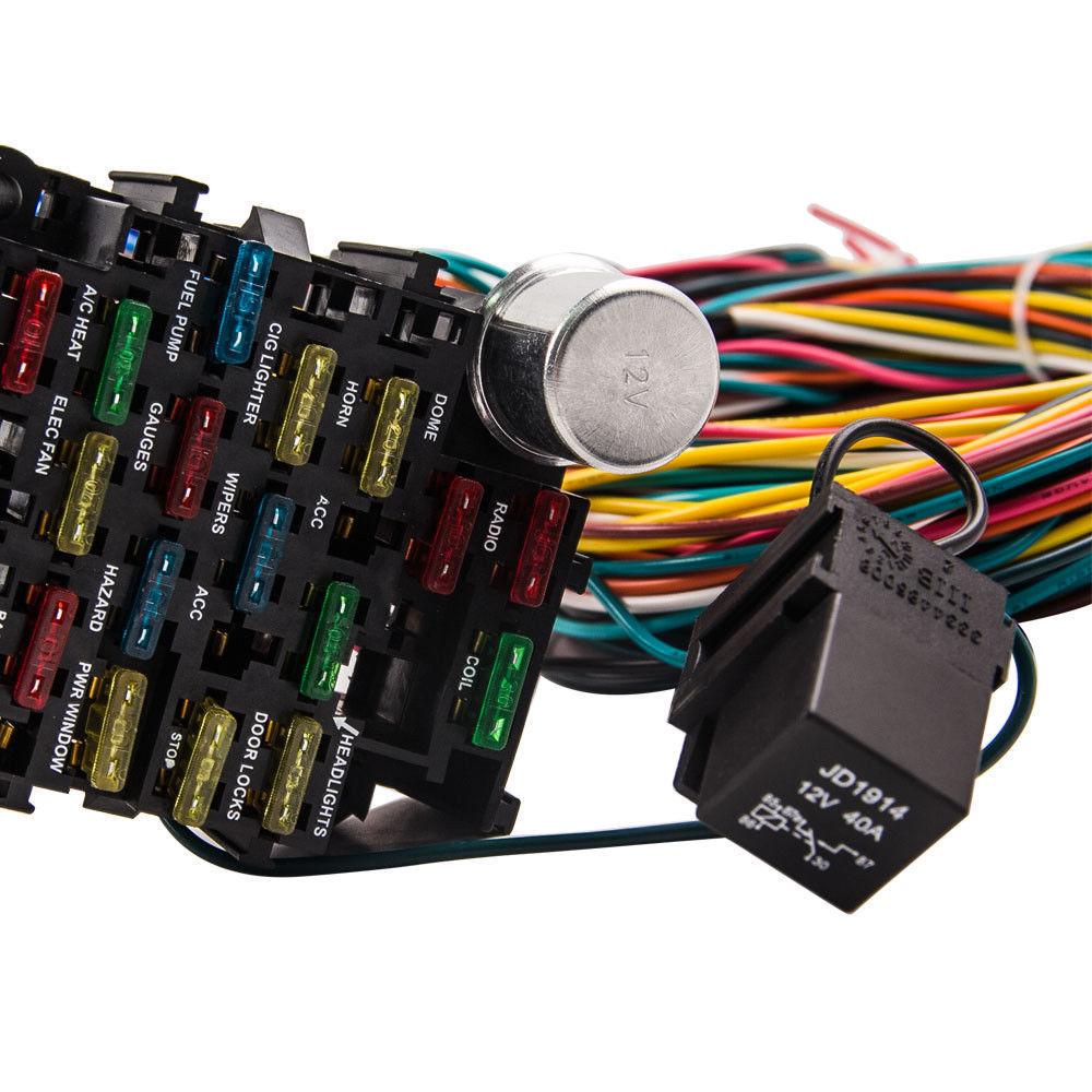 CNCH 21 Circuit 17 Fuses Box Universal Wiring harness Hot UNIVERSAL Universal Gauge Wiring Harness on fuel pressure regulator gauge, battery gauge, vacuum pump gauge, spark plug gauge,