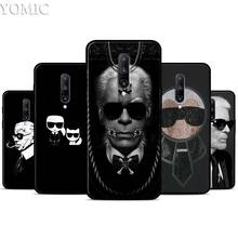 drawing of karl lagerfeld Silicone Case for Oneplus 7 7Pro 5T 6 6T Black Soft Case for Oneplus 7 7 Pro TPU Phone Cover