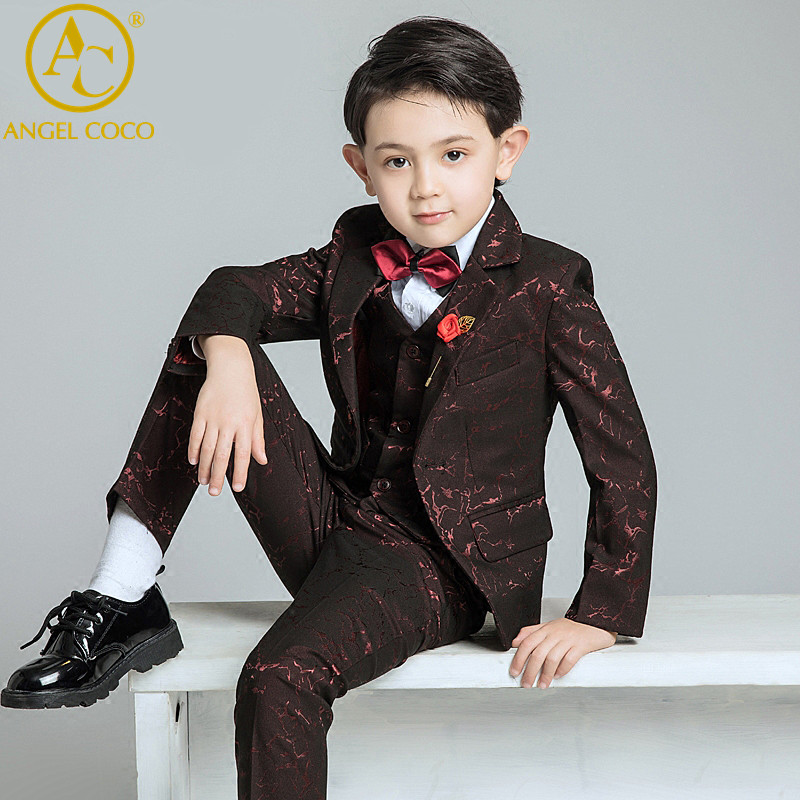 6PCS/SET Boys Suits Weddings Kids Prom Suits Red Wedding Suits Boys Tuexdo Big Children Clothes Set Boy Formal Classic Costume high quality school uniform new fashion baby boys kids blazers boy suit for weddings prom formal gray dress wedding boy suits