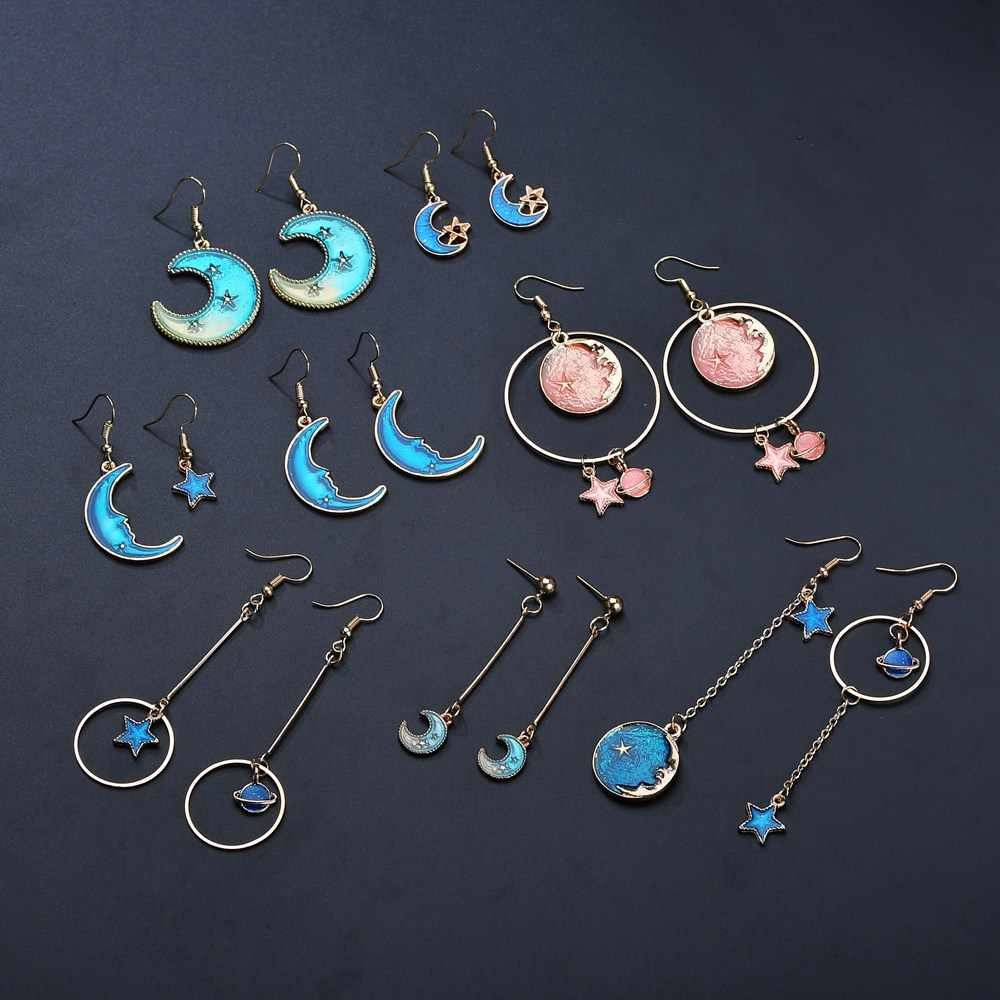 Terreau Kathy 2018 New Korean Style Jewelry Blue Star Moon Long Drop Earrings For Women Asymmetric Round Planet Earrings Fashion