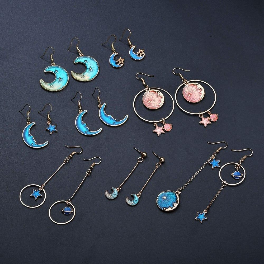 Terreau Kathy 2018 New Korean Style Jewelry Blue Star Moon Long Drop Earrings For Women Asymmetric Round Planet Earrings Fashion