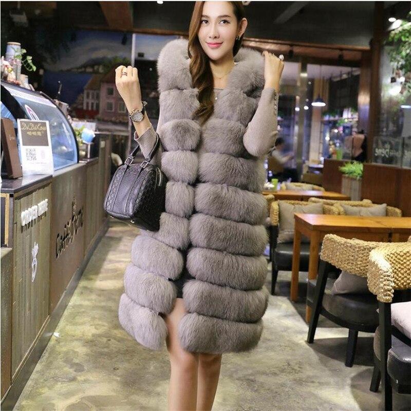 SWENEARO 2018 nouveau automne hiver manteau de fourrure de renard lâche jupe type imitation renard gilet de fourrure gilet au milieu long grande taille femmes