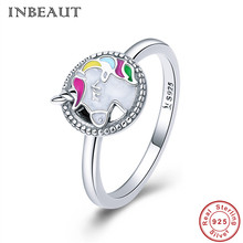 INBEAUT Women Trendy Unicorn Ring 925 Sterling Silver Colorful Enamel Mysterious Aninmal Fair Memory Wedding Rings for Female