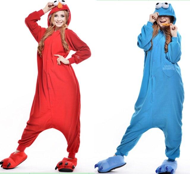 cute sesame street cartoon one piece pajamas halloween costumes for women and men animal