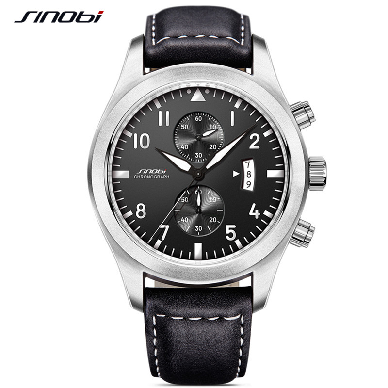 SINOBI Quartz Male Watches Sports Watches Relaxation Mens Stopwatch 30m Waterproof Watch Reloj Hombre Chronograph Watches