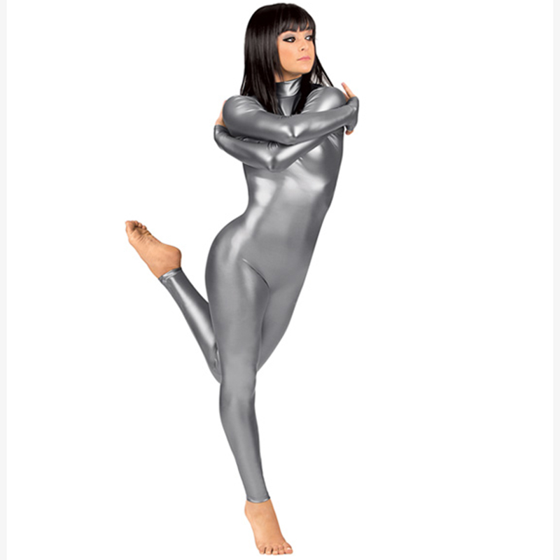 Women Unitards Metallic Leotard High Neck Zipper Back Holographic Zentai Full Body Leotard Rave Clothing