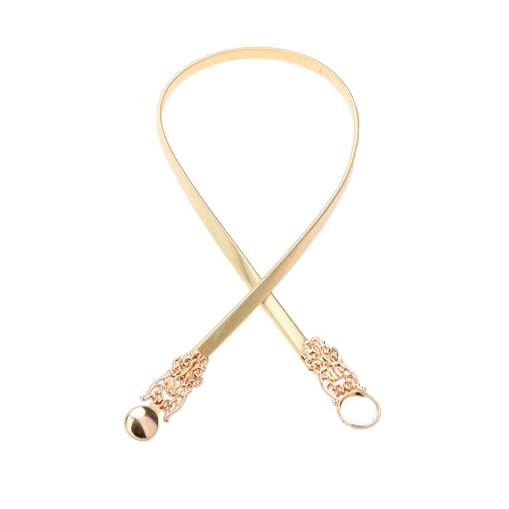 Belts   for Women Fashion Golden Waist   Belt   Gold Tone Hollow Out Stretchy Chain Metal   Belt   For Dress Slim Elegant Ceinture Femme