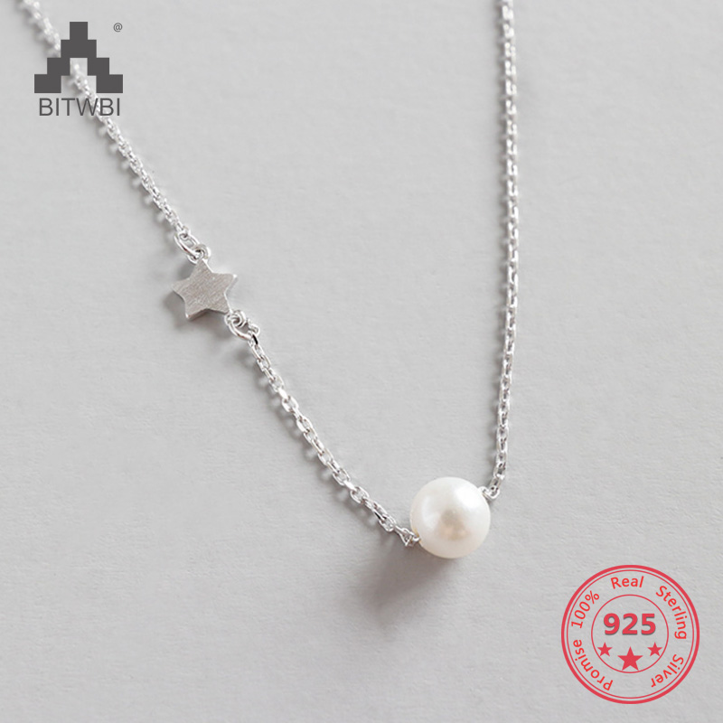 100% S925 Sterling Silver Jewelry Star Pearl Necklaces & Pendants Bohemian Necklaces For Women Best Gift