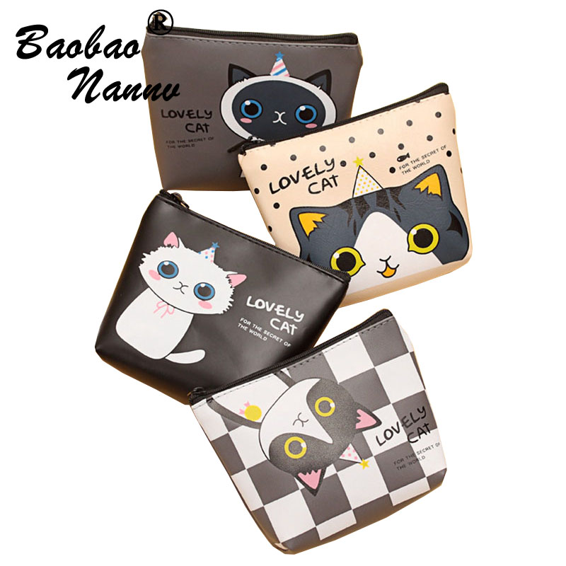 Mini Cat Coin Purses For Girls PU Wallet Women Cute Zipper Bag Children's Purse bolsa de moeda coins pouch monedero gato 2017new coin purses wallet ladies 3d printing cats dogs animal big face fashion cute small zipper bag for women mini coin purse
