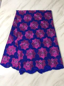 5 Yards/pc Popular royal blue african cotton fabric with fuchsia flower swiss voile lace embroidery for clothes BC13-2