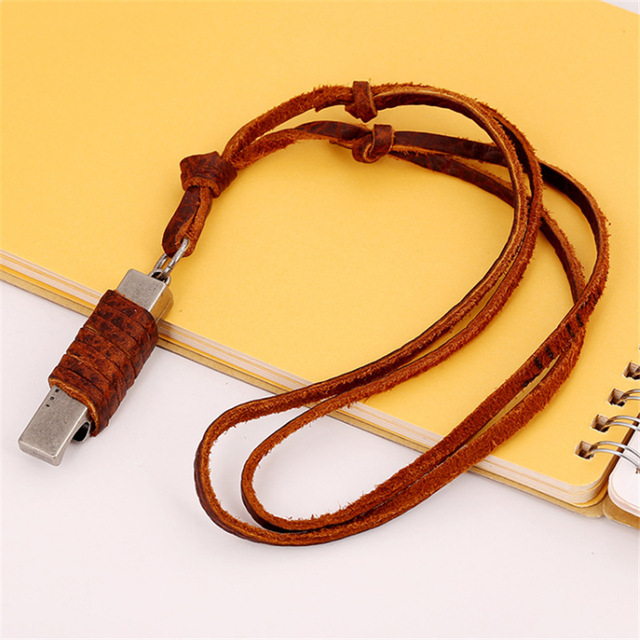 Fashion Vintage Bottle Opener Pendant Leather Necklace Male Womenu0027s Long  Design Genuine Leather Rope Necklace