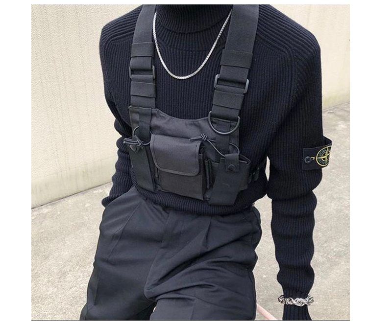 HTB1wuufJ6DpK1RjSZFrq6y78VXae - adjustable Black Vest Hip Hop Streetwear Functional Tactical Harness Chest Rig Kanye West Waist Pack Chest Bag Fashion Nylon c5