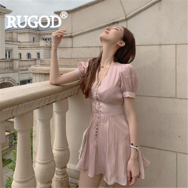 RUGOD Women solid satin dress v neck puff sleeve pleated slim empire mini dress 2019 new fashion female elegant sweet mujer robe