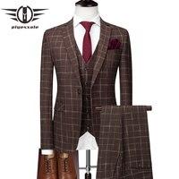 Plyesxale Brown Suit Men Slim Fit Plaid Suits For Men 3 Piece Groom Wedding Suit High Quality Mens Business Formal Wear Q179