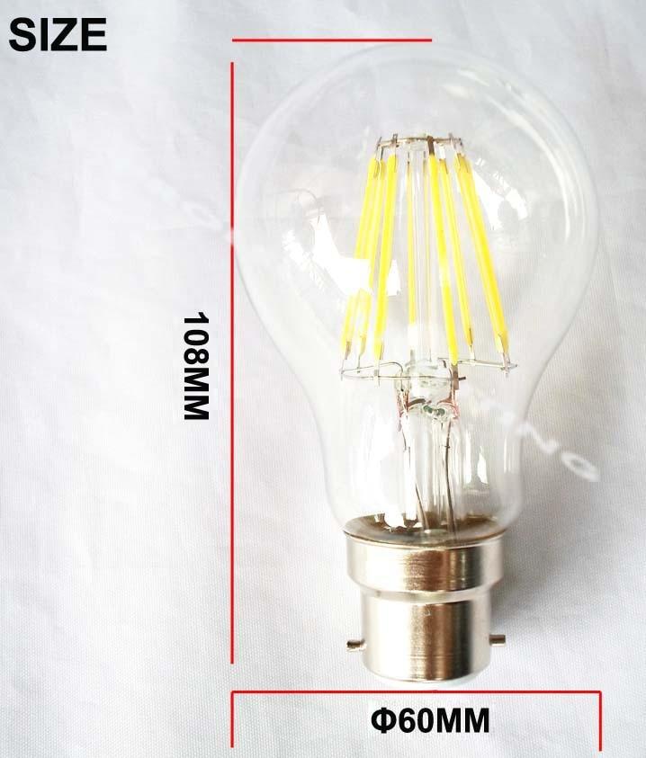 Купить с кэшбэком Wholesale 10 pieces 6W or 8W LED filament lamp B22 cover led glass bulbs warm white a60 a19 bayonet COB led retro edision bulbs