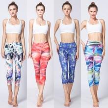 Kvinnor Yoga Pant Tryckt Hög Midja 3/4 Längd Fitness Legging Snabbt Dry Gym Slim Byxor Elastisk Capris Dance Tights Sport