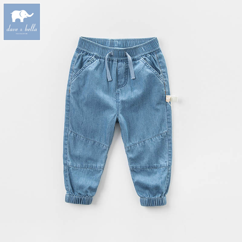 DBB6853 dave bella spring baby boys fashion denim blue denim solid jean kids pants children boutique trousers fashion style destroy wash dark blue denim pants for men
