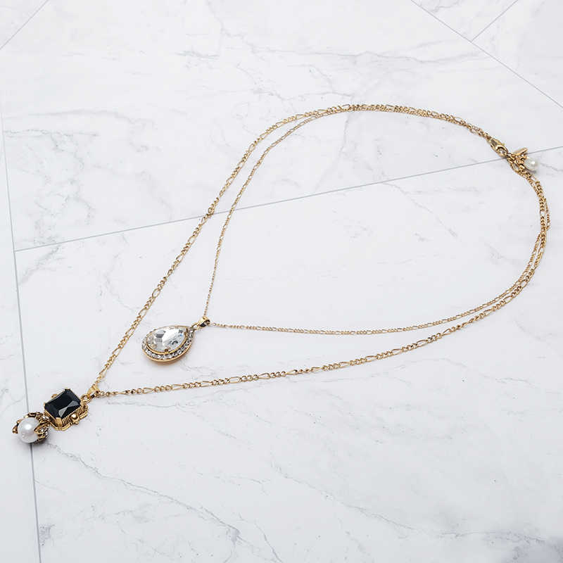 Water drop design vintage shiny elegant pearl double necklace