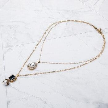 Дизайн капли воды, винтажное блестящее элегантное жемчужное двойное ожерелье