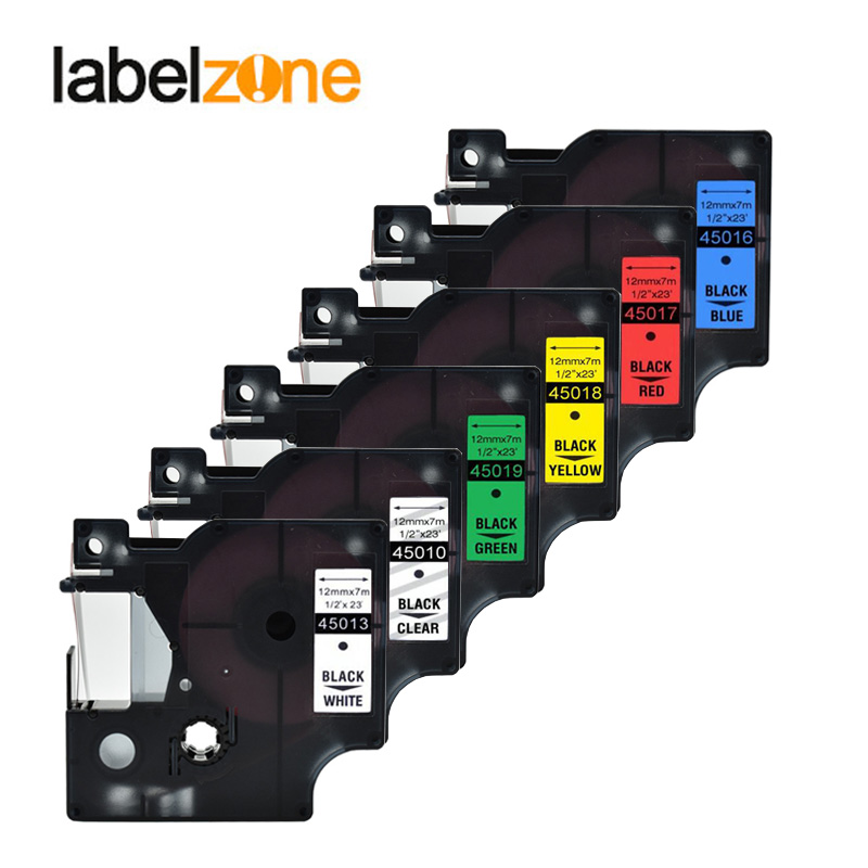 labelzone Mixed 15 colors 45013 label tape compatible dymo D1 12mm label printer