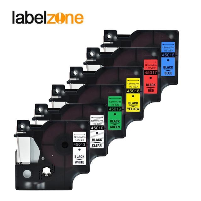 ผสม 15 สี 45013 label tape ใช้งานร่วมกับ dymo D1 12 มิลลิเมตรเครื่องพิมพ์ลามิเนต D1 45010 ริบบิ้นเทปสำหรับ Dymo LM160 เครื่องพิมพ์