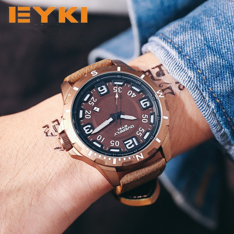 EYKI Large Stereoscopic Dial Luminous Popular Colorful Younth Men Watch Top Brand Man Watches Sport Quartz Wrist Watches For Men the new eyki brand men s quartz watch fashion formal roman scale square dial leather strap wrist watches for men sport watch