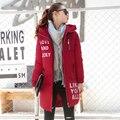 2017 Novas Mulheres Jaqueta de Inverno Com Capuz Engrossar Casaco Feminino moda Quente Algodão-Acolchoado Longo Amassado Para Baixo Casaco Outwear Parkas