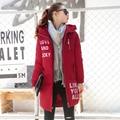 2017 Nueva Chaqueta de Invierno Mujeres Con Capucha Escudo Espesar Mujer de la manera Caliente Outwear de Algodón Acolchado Largo Wadded Abajo de la Capa Parkas