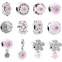 free shipping 1pc silver spring light pink Magnolia flower clip or bead charms Fits European Pandora Charm Bracelets mix020