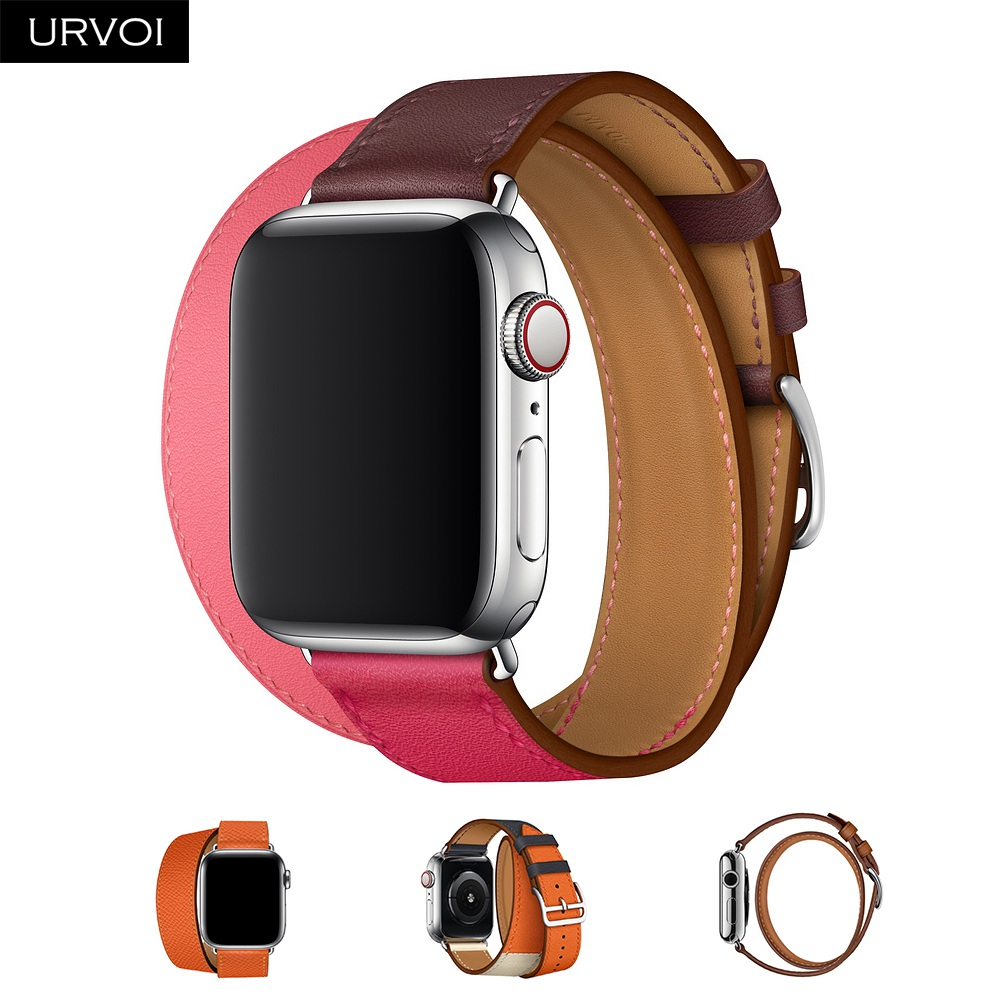 URVOI 2018 Double Tour for Apple Watch band series 4 3 2 1 luxury strap for iWatch genuine swift leather loop extra-long belt urvoi deployment buckle band for apple watch series 3 2 1 strap for iwatch belt single tour for hermes watch band swift leather
