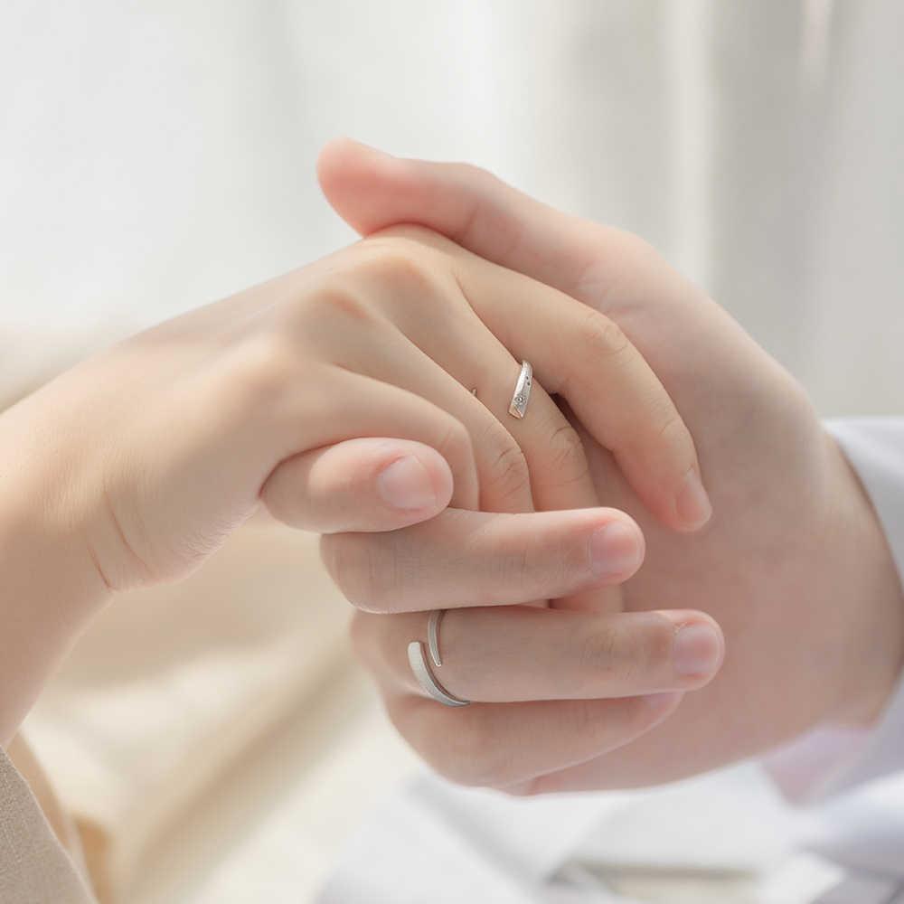 Thaya Alert เฟส cherish แหวนเครื่องประดับ 925 เงินบุคลิกภาพที่เรียบง่ายเพชรเปิดแหวนโรแมนติกสำหรับผู้หญิง